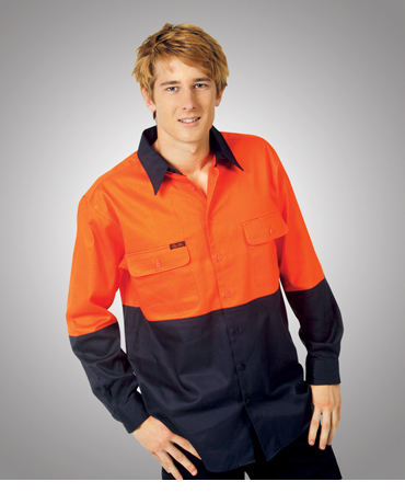 C83 Hi Vis 190 GSM Cotton Drill Work Shirt Long Sleeve