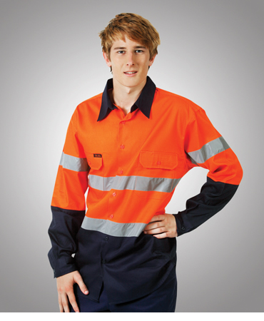C93 Hi Vis 190 GSM Cotton Drill Work Shirt Long Sleeve
