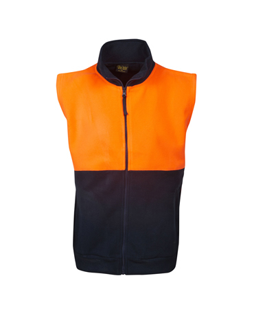 F84 Hi Vis Half Zipped Polar Fleece Vest