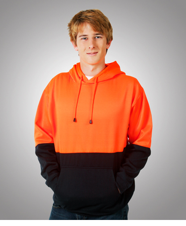 F93 Hi Vis Fleecy Hoodie with Kangaroo Pocket