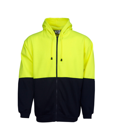 F94 Hi Vis Fleecy Hoodie with Full Zip Front