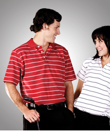 P25 Striped Cotton Pique Polo Adults