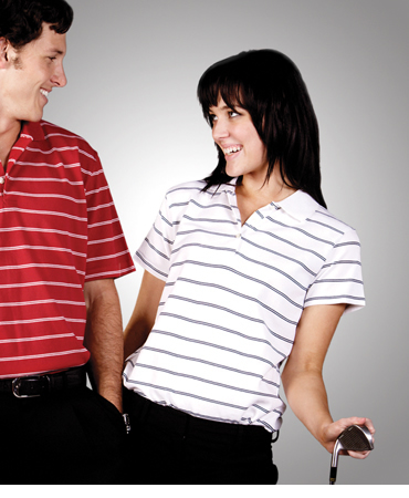 P28 Striped Cotton Pique Polo Ladies