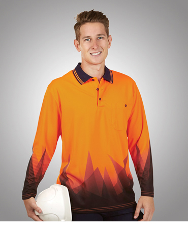 P68 Triangular Design L/S Sublimation Printed Hi Vis Polo Shirts
