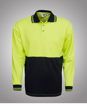 P84 Cotton Back Coolfast Hi Vis Polo Shirt Long Sleeve
