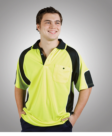 P87 Hi Vis Cooldry Side Panel Polo Short Sleeve