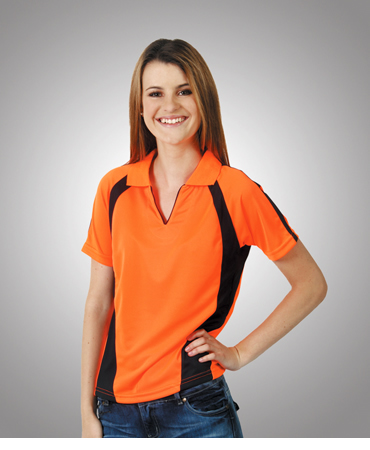 P89 Ladies Hi Vis Coolfast Mini Waffle Polo Lady
