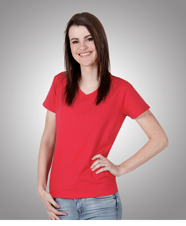 T25 Ladies V-neck Cotton Lycra T-shirt